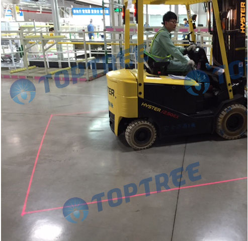 Red zone danger area warning safety light forklift red zone line light 9-80VDC